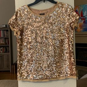 Talbots gold sequined Blouse